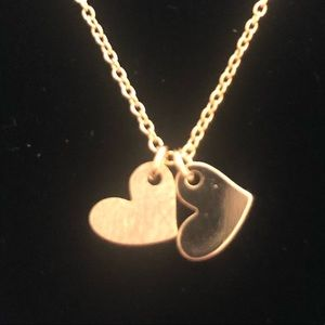 Jewelry - 14K Gold 2 Solid Hearts Necklace